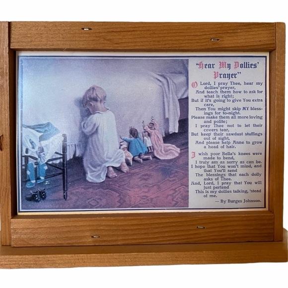 Vintage Dollies Prayer Framed Picture Vintage Art